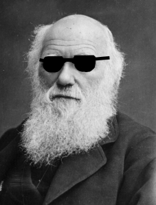 Note: the notion that evolution is blind has nothing to do with Darwin's eyesight. I just thought this was an amusing image.