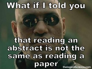 scientific abstracts are not the same as papers meme funny peer-review