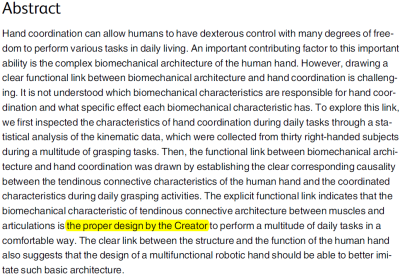 abstract from PLoS ONE paper god creator hand design