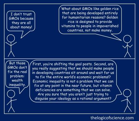 stick figure meme blue logical fallacy GMO golden rice