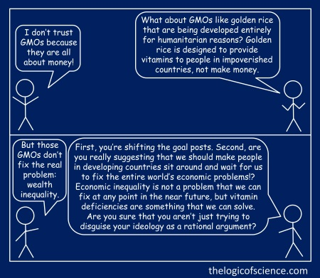 stick figure meme blue logical fallacy GMO golden rice