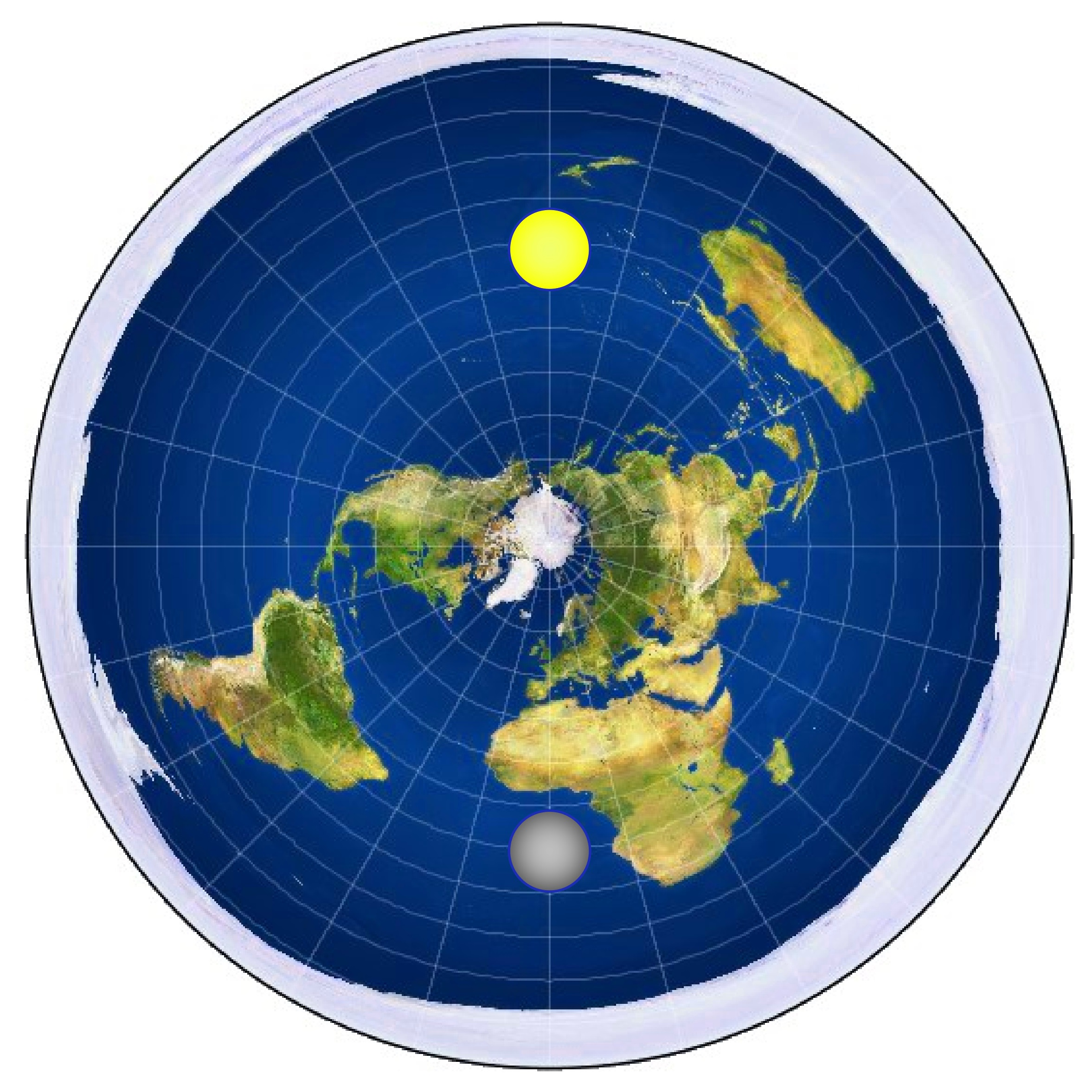 This Is A Typical Flat Earth Map, With The Sun And Moon Circling Overhead.